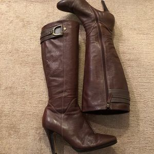 Cole Haan High Heel Brown Leather Boots